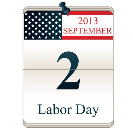 Vector of Calendar for Labor Day with American flag