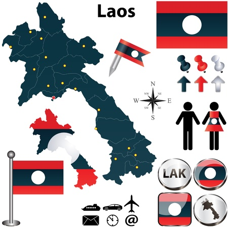 kip: Vector of Laos set with detailed country shape with region borders, flags and icons Illustration