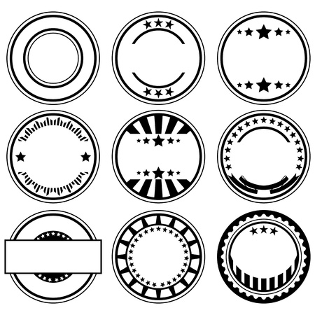 Vector set of empty rubber stamps with space for text Vector