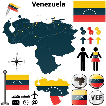 Vector of Venezuela set with detailed country shape with region borders, flags and icons Vector