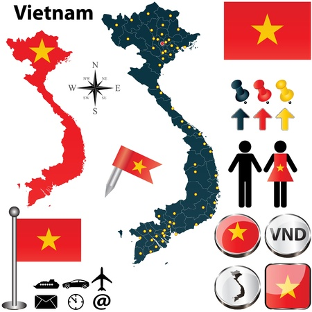 vietnam: Vector of Vietnam set with detailed country shape with region borders, flags and icons