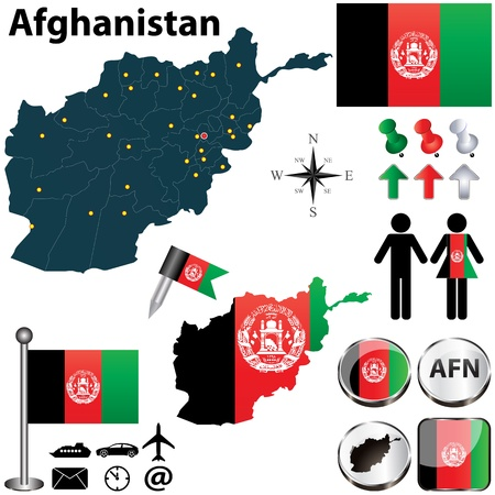 afghan flag: Vector of Afghanistan set with detailed country shape with region borders, flags and icons Illustration