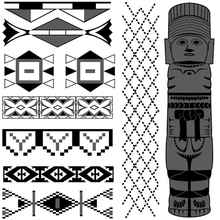 guatemala: Vector image of ancient American pattern on white