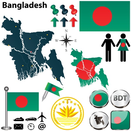 bangladesh: Vector of Bangladesh set with detailed country shape with region borders, flags and icons