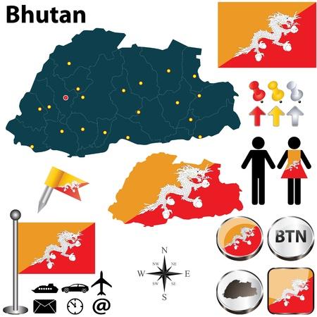 bhutan: Vector van Bhutan set met gedetailleerde land vorm met de regio grenzen, vlaggen en pictogrammen Stock Illustratie