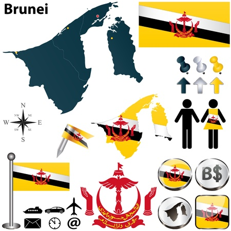 map of brunei: Vector of Brunei set with detailed country shape with region borders, flags and icons