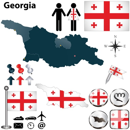 georgia flag: Vector of Georgia set with detailed country shape with region borders, flags and icons Illustration