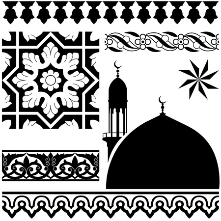 Vector of different Islamic pattern on white backgraund Çizim