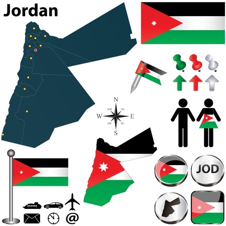 Vector of Jordan set with detailed country shape with region borders, flags and icons Vector
