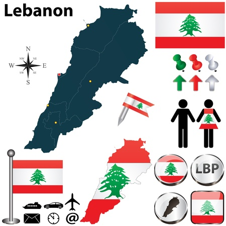 Vector of Lebanon set with detailed country shape with region borders, flags and icons Vector