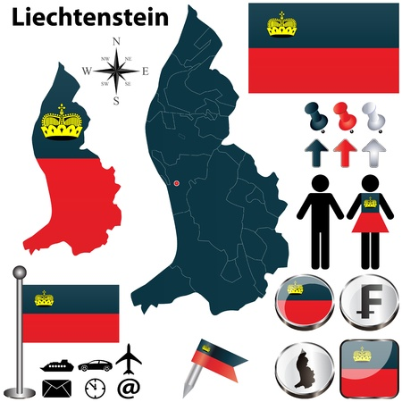 Vector of Liechtenstein set with detailed country shape with region borders, flags and icons Vector