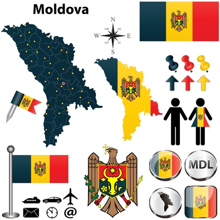 moldovan: Vector of Moldova set with detailed country shape with region borders, flags and icons
