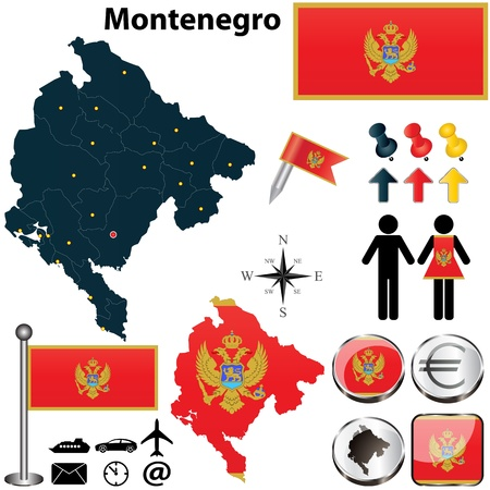 montenegro: Vector of Montenegro set with detailed country shape with region borders, flags and icons