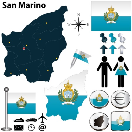 marino: Vector of San Marino set with detailed country shape with region borders, flags and icons Illustration