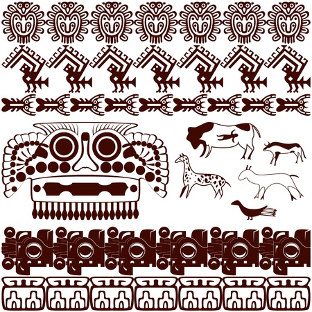sacrifices: Vector of set of ancient American ornaments on white