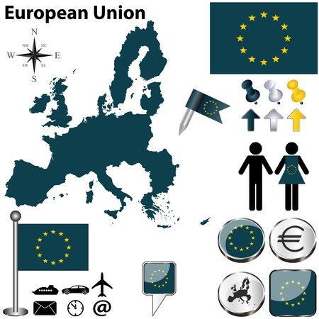 European Union with 27 members Vector