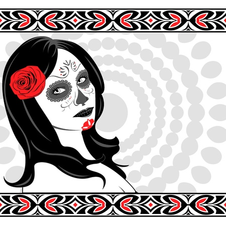 Sugar Skull Lady with face paint for Day of the Dead (Dia de los Muertos) Vector