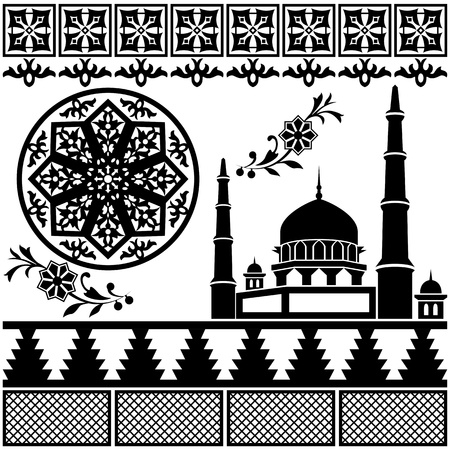 eastern religion: Different Islamic pattern on white backgraund