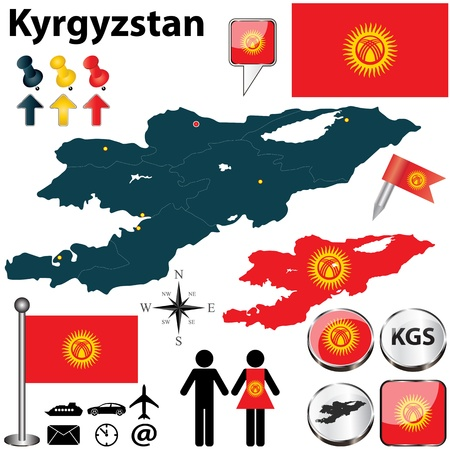 kyrgyz republic: Kyrgyzstan set with detailed country shape with region borders, flags and icons
