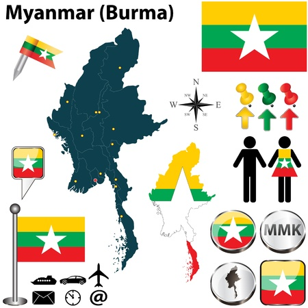 Myanmar set with detailed country shape with region borders, flags and icons Vector