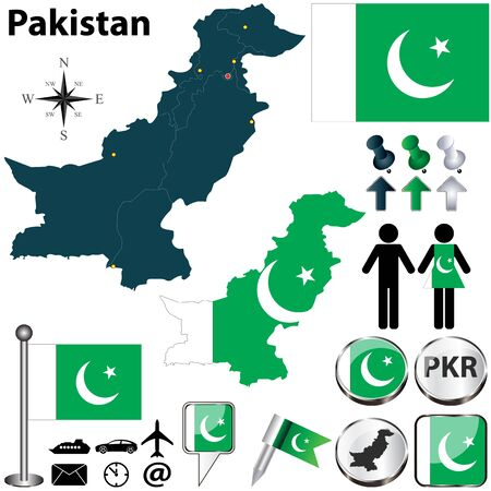 pakistani: Pakistan set with detailed country shape with region borders, flags and icons