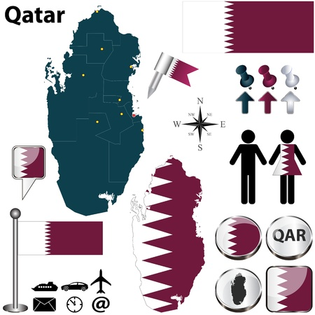 Qatar set with detailed country shape with region borders, flags and icons