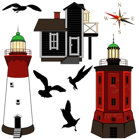 phase: Set of lighthouses on white backgrond