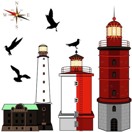 sealife: Set of lighthouses on white background