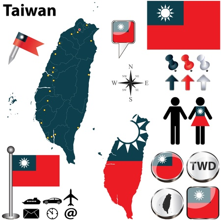 Taiwan set with detailed country shape with region borders, flags and icons
