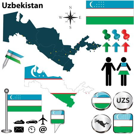 uzbekistan: Uzbekistan set with detailed country shape with region borders, flags and icons