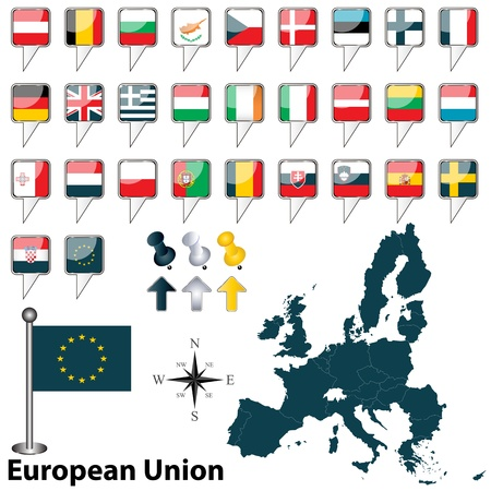 Vector of European Union with 28 members with Croatia Vector