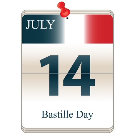 Vector of the date white block calendar Bastille Day, July 14th Vector