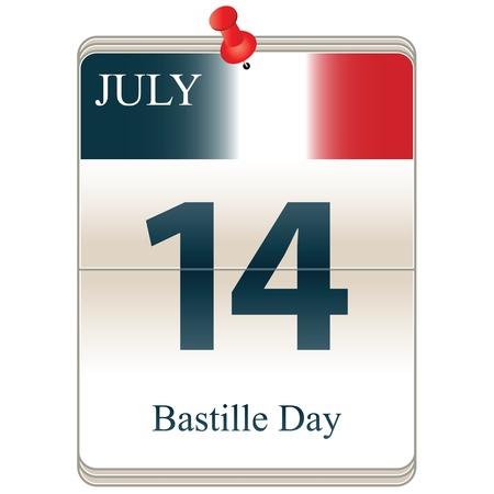 bastille: Vector of the date white block calendar Bastille Day, July 14th