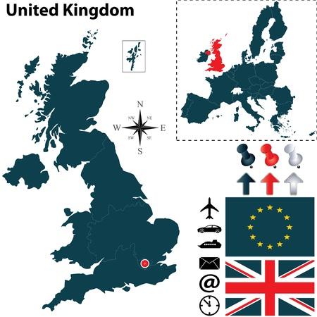 Vector de Reino Unido ha establecido con forma detallada pa?con las fronteras de la regi?banderas e iconos