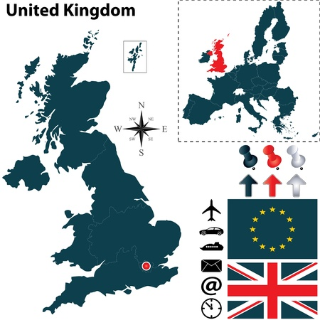 united kingdom: Vector of United Kingdom set with detailed country shape with region borders, flags and icons Illustration