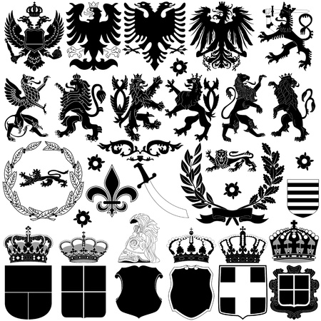heraldic eagle: Vector of heraldry design elements on white background