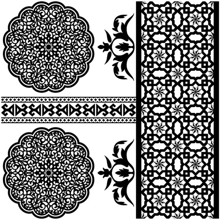 middle eastern: Vector of different Islamic pattern on white backgraund Illustration