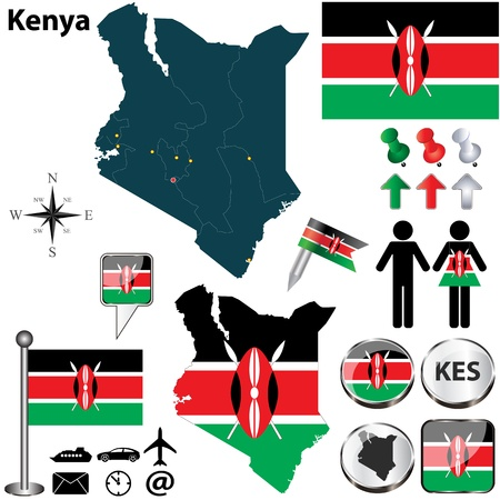 Vector of Kenya set with detailed country shape with region borders, flags and icons Vector