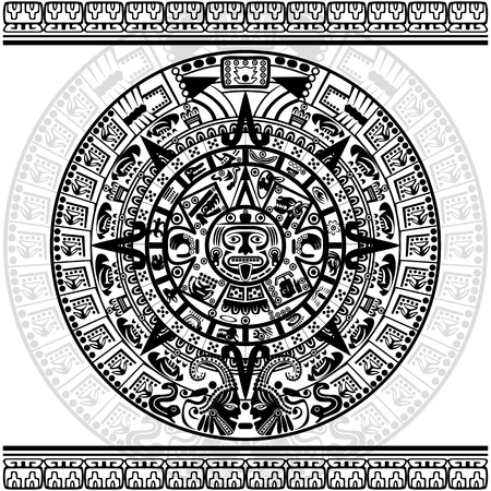 Vector of Mayan calendar on white background   イラスト・ベクター素材