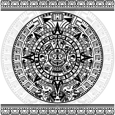 白い背景の上のマヤのカレンダーのベクトル