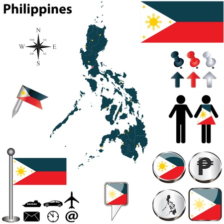 filipino: Vector of Philippines set with detailed country shape with region borders, flags and icons