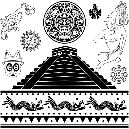 Vector of set of ancient American ornaments on white