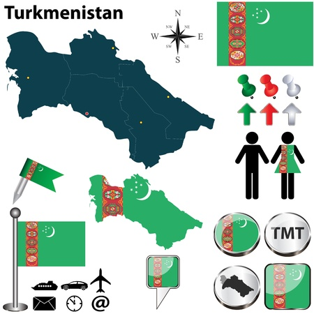 turkmenistan: Vector of Turkmenistan set with detailed country shape with region borders, flags and icons