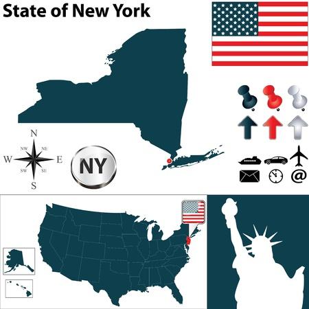 central park: Conjunto de vectores de la forma de pa�s de Nueva York con banderas e iconos en el fondo blanco