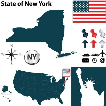 central park: Vector set of New York country shape with flags and icons on white background