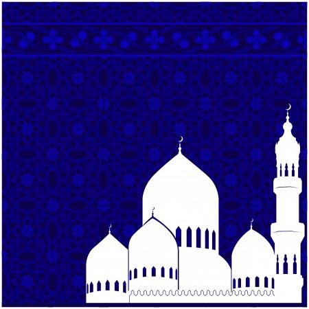 persian art: Arabic postcard for Ramadan Kareem with mosque