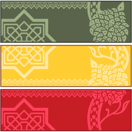 middle eastern: different banners with Islamic ornaments on white background Illustration