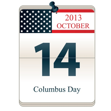 christopher columbus: Calendar of Christopher Columbus Day 2013 with American flag