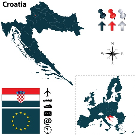 Croatia and European Union set with detailed country shape with region borders, flags and icons Vector
