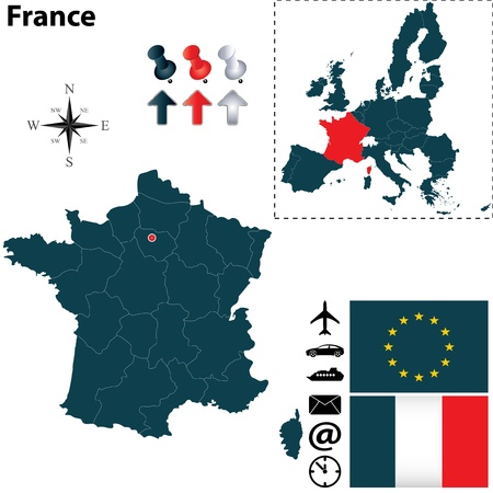set of France and European Union shape with flags and icons isolated on white background Vector